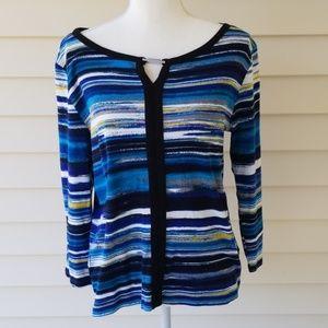 BLue and BLACK colorful Rafaella Top L